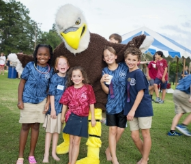 Students having fun with our mascot, Swoops